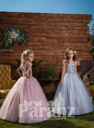 Rich sequin and floral appliquéd party dress with glitz high volume tulle skirt side view