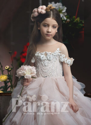 Ruffle cloud long skirt with off-shoulder flower embroidery royal bodice