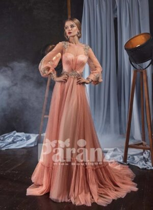 Ruffle hem long trail tulle skirt gown with elegant appliquéd satin-sheer bodice
