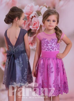 SIMPLE SATIN-SHEER TEA LENGTH TULLE SKIRT DRESS WITH RHINESTONE WORK ALL OVER IN PINK