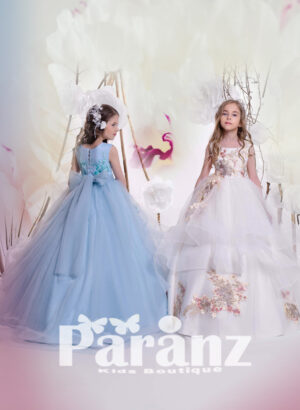 SLEEVELESS LONG TULLE GOWN WITH COLORFUL FLOWER APPLIQUÉS
