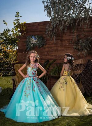 SOFT METAL TULLE SKIRT DRESS WITH COLORFUL FLOWER APPLIQUÉS