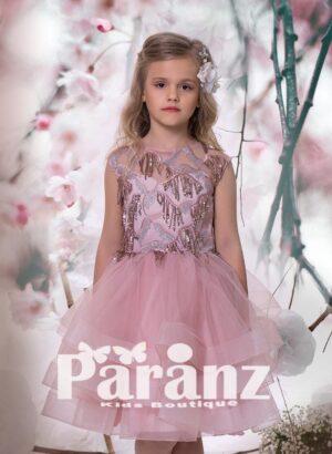 Satin-sheer sequin design bodice with tea length pink tulle skirt dress