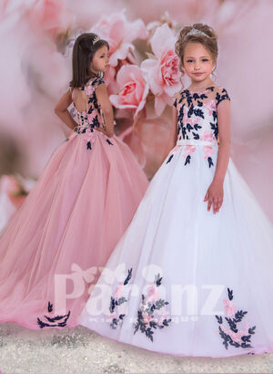 Satin-sheer white bodice with colorful floral appliqué and long trail tulle skirt dress