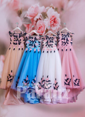 Satin-sheer white bodice with colorful floral appliqué and long trail tulle skirt dress FOR GIRLS
