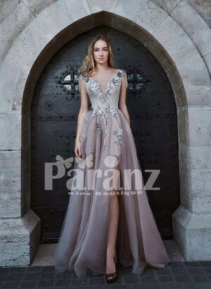 Side slit soft party tulle gown with floral appliqués in light mauve