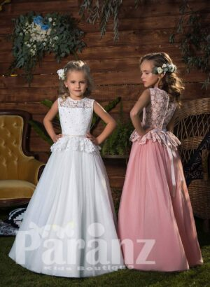 Simple and elegant long tulle skirt dress with appliquéd bodice and overskirt