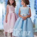 Simple tea length satin skirt dress with pearl and flower appliquéd neckline