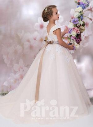 Sleeveless appliquéd bodice long tulle skirt dress side view