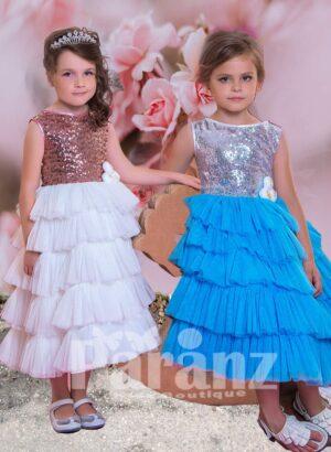Sleeveless boat neckline glitz sequin bodice with multi-layer tulle skirt dress