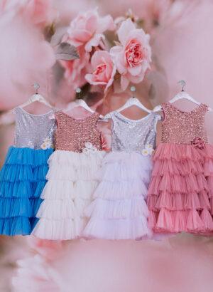Sleeveless boat neckline glitz sequin bodice with multi-layer tulle skirt dress for girls