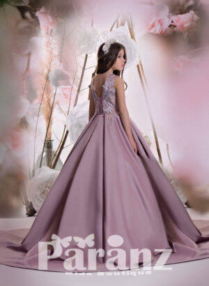 Sleeveless satin tea length gown with tulle underneath skirt studded pearl and appliquéd bodice back side view