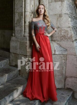 Soft And Smooth Long Satin Party Gown With Royal Off-Shoulder Bodice
