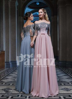 Soft And Smooth Long Satin Party Gown With Royal Off-Shoulder Bodice side view