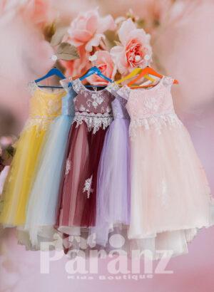 Soft flower dress with sheer-satin bodice and long tulle skirt FOR GIRLS