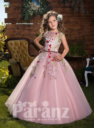 Soft metal pink tulle skirt dress with colorful flower appliqués