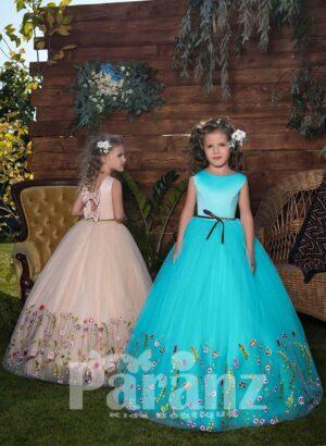 Colorful floral appliquéd hem tulle skirt dress with simple satin bodice