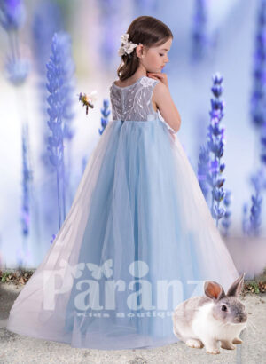 Soft satin-sheer tulle skirt with pearl and appliquéd design bodice side view