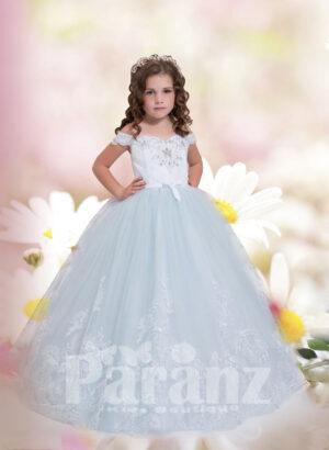 Soft-white off shoulder princess tulle skirt dress