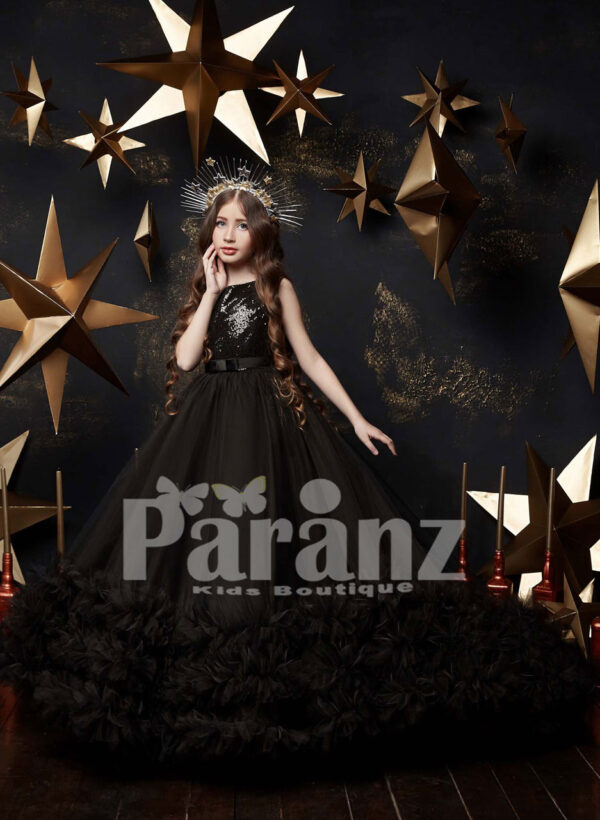 Stunning black tulle skirt gown with ruffle hem and sequin bodice