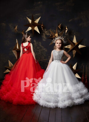 Stunning black tulle skirt gown with ruffle hem and sequin bodice Rad and white