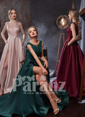 Super smooth rich satin side slit party gown with lace appliquéd bodice
