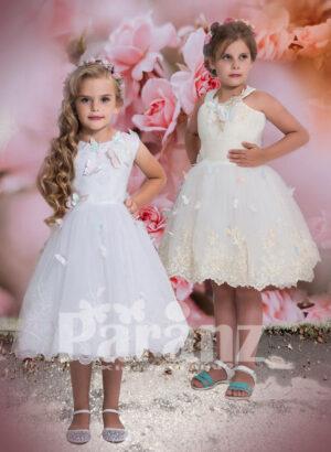 Tea length flower appliquéd tulle skirt dress for little girls in white hue