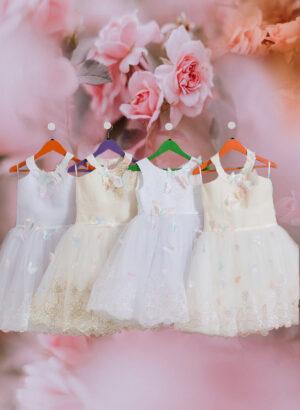 Tea length flower appliquéd tulle skirt dress for little girls in white hue for girls