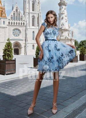 Tea- length tulle skirt evening party dress with all over floral appliqués