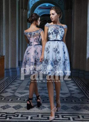 Tea- length tulle skirt evening party dress with all over floral appliqués back side view