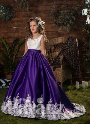 White flower appliquéd rich satin skirt dress with appliquéd satins-sheer bodice