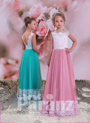 White lace appliquéd satin-sheer bodice with long tulle skirt with lace hem