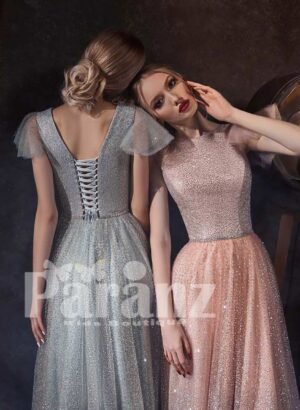 Women's glitz satin tulle gown with stylish wing sleeves