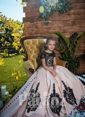 major floral appliquéd rich satin skirt dress with appliquéd elegant bodice