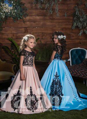 major floral appliquéd rich satin skirt dress with appliquéd elegant bodice side view