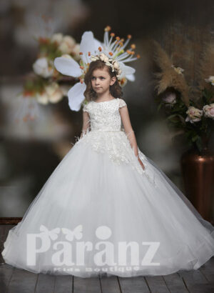 pearl-sequin-feather and floral appliquéd bodice with long trail tulle skirt dress