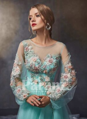 satin-sheer evening tulle gown with flower appliquéd bodice and sleeves
