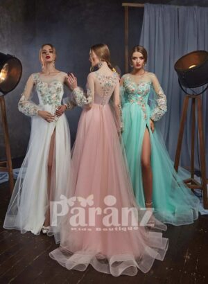 satin-sheer evening tulle gown with flower appliquéd bodice and sleeves side view