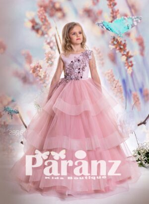 silver satin bodice with flower-pearl-sequin and multi-layer pink tulle skirt
