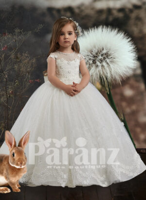 small flower embroidered satin-sheer bodice with long glitz tulle skirt dress
