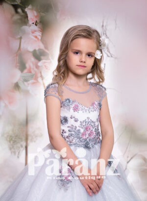 white satin-gray sheer bodice and long tulle skirt gown dress with all over appliqués