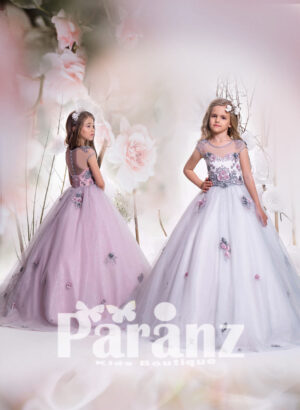 white satin-gray sheer bodice and long tulle skirt gown dress with all over appliqués side view