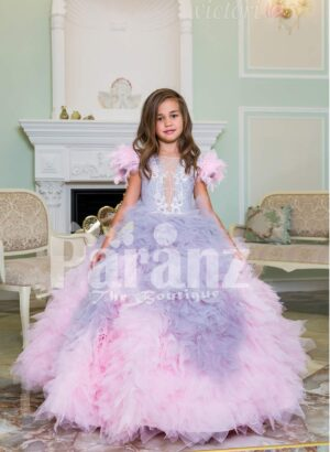 Baby pink-purple ruffle-tulle flared and high volume floor length gown for little girls