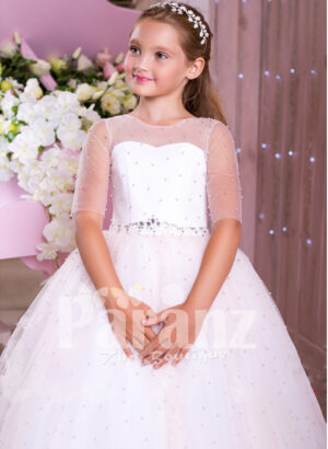 Beautiful pearl white floor length high volume tulle skirt dress with rhinestone waist belt