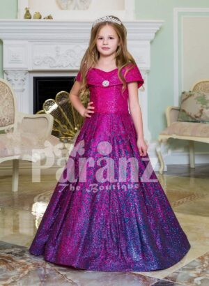 Elegant magenta pink floor length baby gown with all over blue glitz and royal bodice