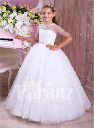 Elegant pearl white floor length tulle skirt party gown with multi-color rhinestone belt