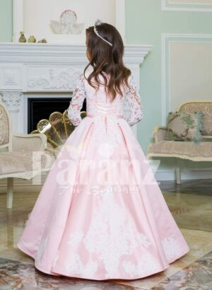 Floor length metallic pink baby gown with lace-sheer work elegant bodice back side view