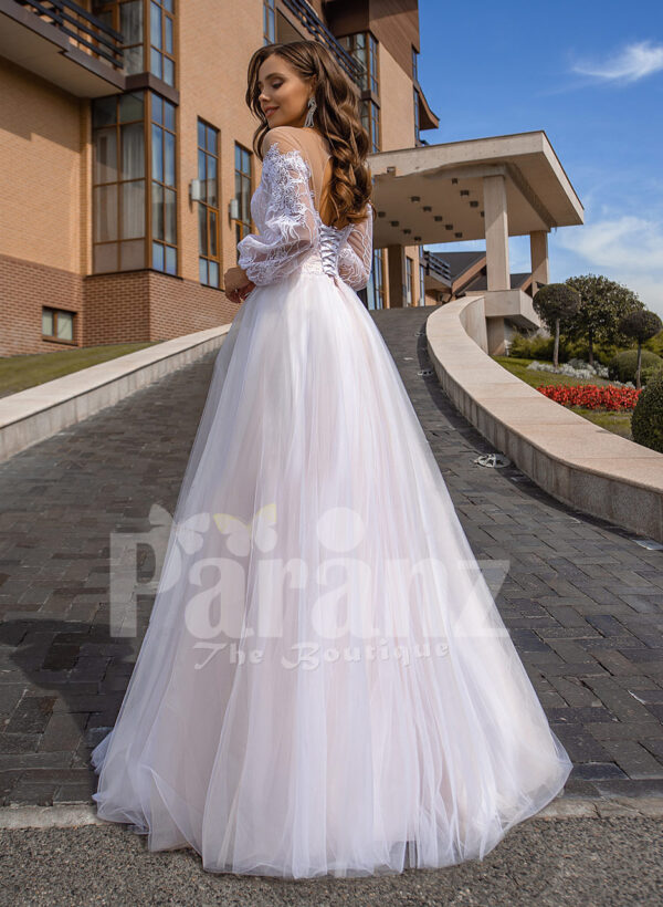 Floor length stunning white off-shoulder Arabian princess style wedding tulle gown back side view
