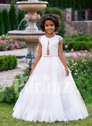 Light pink cap sleeve elegant baby gown with floor length lace hem flared tulle skirt