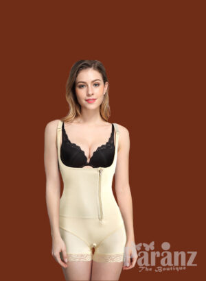 Mid Thigh Body Suit With Lace & Front Zipper Closure off White
